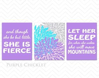 Purple Aqua Nursery Wall Art Prints Let Her Sleep For When She Wakes And Though She Be But Little She is Fierce Dahlia Decor 198(177(a)*
