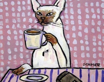 25% off Siamese Cat at the Coffee Shop Art tile Coaster