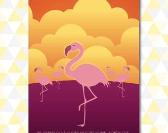 Pink Flamingo 'The Journey of One Thousand Miles' Nursery Art - Download - A3
