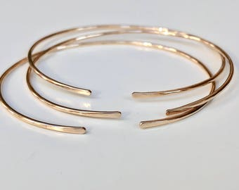 14K Gold Cuff Bracelet SOLID Gold - 1.3mm Thick/16 Gauge - Timeless Style - Heirloom Quality - Marked 14K