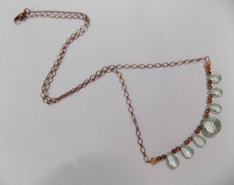 PRASIOLITE and COPPER CHAIN Necklace