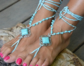 BAREFOOT SANDALS TURQUOISE Luxury anklets bohemian anklet jewelry foot beach wedding Festival howling by Bruna ItalianshopVintage Italy