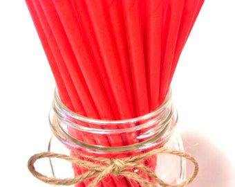 25 Solid Red Orange Paper Straws // baby bridal shower decorations // candy dessert buffet table / wedding / First birthday / new year party
