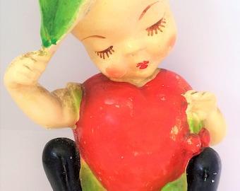 Vintage Carlton Ware Pee Dee 1942 Charlie Apple Fruit Kid Chalkware, Pee Dee Chalkware, Fruit Kids Chalkware, Carlton Chalkware, Chalkware