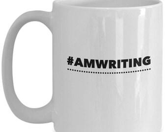 Hashtag Am Writing, Funny Authors Coffee Mug, Coolest Writers Gift