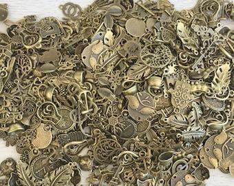 25  Bulk Charm Assortment,Vintage Charms,Pendant,Antique Bronze,Fit Bracelets,Mixed Lot,Random, Jewelry Making Diy, Lot #40