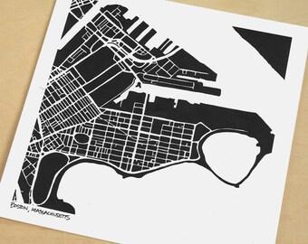 South Boston Map, Hand-Drawn Map Print of South Boston