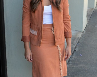 60s Vintage Rust Two Piece Skirt Jacket Suit With Fringe Accents