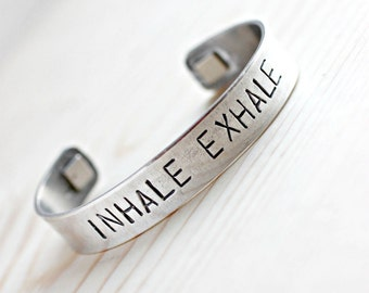 Inhale Exhale Bracelet, Breathe Bracelet, Just Breathe Bracelet, Yoga Jewelry, Yoga Bracelet, Relaxation, Relaxation Gifts