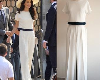 Amal Clooney Cream Pants Suit/ White Jumpsuit/ Wedding jumpsuit/ Wide leg jumpsuit/ Womens jumpsuit/ Bridal Jumpsuit/ Formal jumpsuit