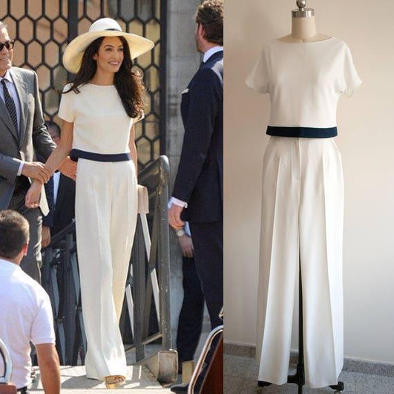 Amal clooney cream pants suit white jumpsuit wedding for Hochzeit jumpsuit