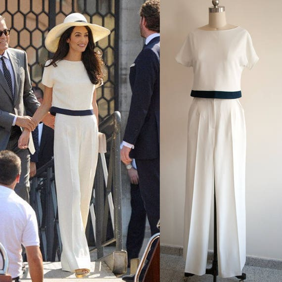Amal clooney cream pants suit white jumpsuit wedding - Jumpsuit hochzeit ...