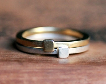 Modern geometric stack rings, 14k gold and recycled sterling silver, square shape, metropolis, made to order