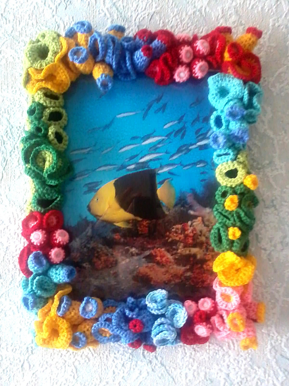 Wandbild hellen und bunten Bild im Häkeln Korallenriff