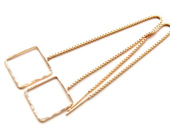 Threader earrings in gold filled. Geometric long chain earrings. Gold filled hammered squares thread earrings. Graduation gifts,modern style
