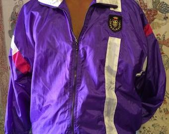 Purple vintage windbreaker  jacket with crest patch