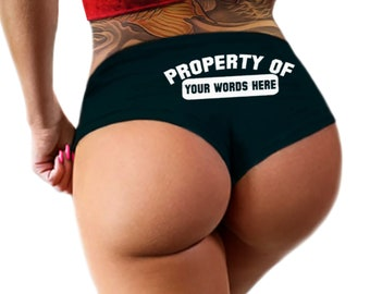 Custom Personalized Property Of Panties Personalized With Your Name, Boyshort Booty Panty, Customized Womens Underwear