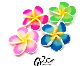 Plumeria Clay Flowers Cabochon, Frangipani, Lei Flower, Polymer Clay Flower Bead