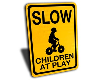 "Slow Children at Play Sign, Aluminum, Yellow, Reflective 10"" by 14"".  Gift idea for Cabin, outdoors."