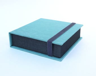 Box for Square Photos 4x4 -Handmade of book cloth |for Instagram photos | Turquoise Presentation Box | Keepsake | Photo Album | Teal & Gray