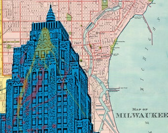 Milwaukee Wisconsin Gas Building with map background 8 x 10 Print