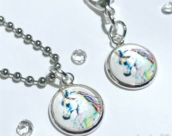 Rainbow unicorn charm for planner, travelers notebook, bag, keyring or zipper pull clip charm in silver plated setting