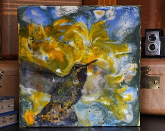 Blur In The Iris -  Photo Encaustic Painting, Hummingbird, Encaustic Art