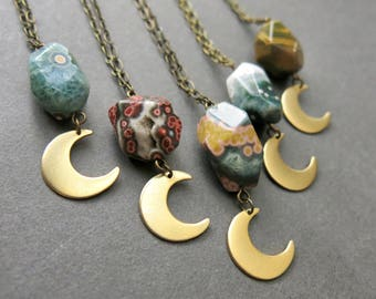 Halbmond Halskette - Ozean Jaspis Kette - Boho-Mond - Mond - Jaspis Schmuck - böhmischen Anhänger - Jasper