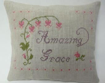 Amazing Grace Mini Pillow Cross Stitch Christian Shelf Pillow