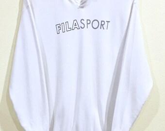 Rare!!! Vintage 90's Fila Sweatshirt Big Logo Spellout Fila Sport Pullover Jumper Sweater Hip Hop Swag Fila Biella-Italia