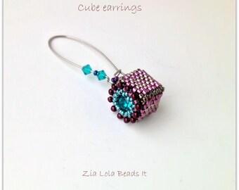 Instant download - Cubes beaded earrings tutorial