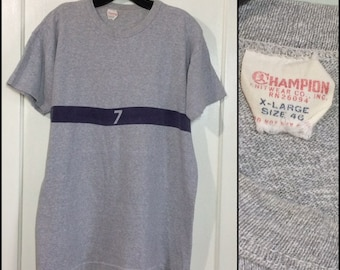 1960s Champion brand running man tag heather gray purple stripe 7 t-shirt size XL 20.75x27 school gym athletic sportswear college university