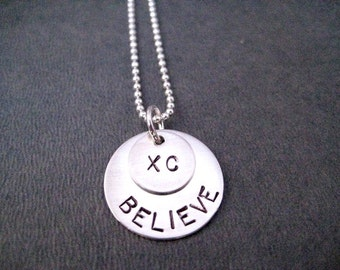 XC BELIEVE Sterling Silver Necklace - 16, 18 or 20 inch Sterling Silver Ball Chain - Sterling XC Necklace - Cross Country Necklace - Xc Race