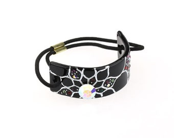 Hair Jewelry Crystal Flower Hair Ponytail Holder, / Free Gift Box(AZ058PT)