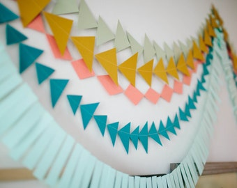 SET OF 3 Geometric Paper Garland, 10ft long each