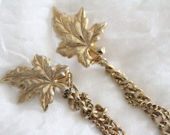 Vintage Gold Maple Leaf Sweater Clip With Double Chain . Unsigned