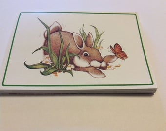 Vintage Set of Bunny Rabbit Folded Notes