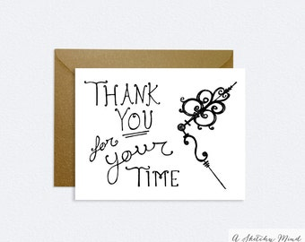 Hand Lettered Thank You Card – Classic – Thank You Card – Thank You For Your Time