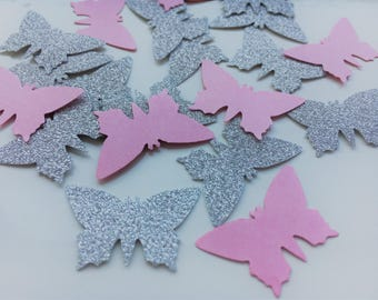 Party Confetti Pink and Silver butterfly, baby shower confetti, wedding confetti, party decor, table decoration