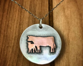 Sterling and Copper Cow/Calf Pendant