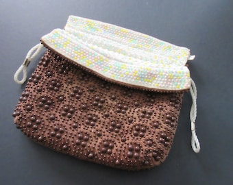 Vintage Acrylic Beaded Material Reversible Purse with Drawstring