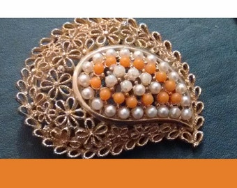Vintage Faux seed pearl and coral beautiful intact large  brooch