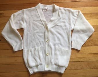 Vintage 1980s Girls White Knit Button Down Cardigan Sweater! Size 7-8