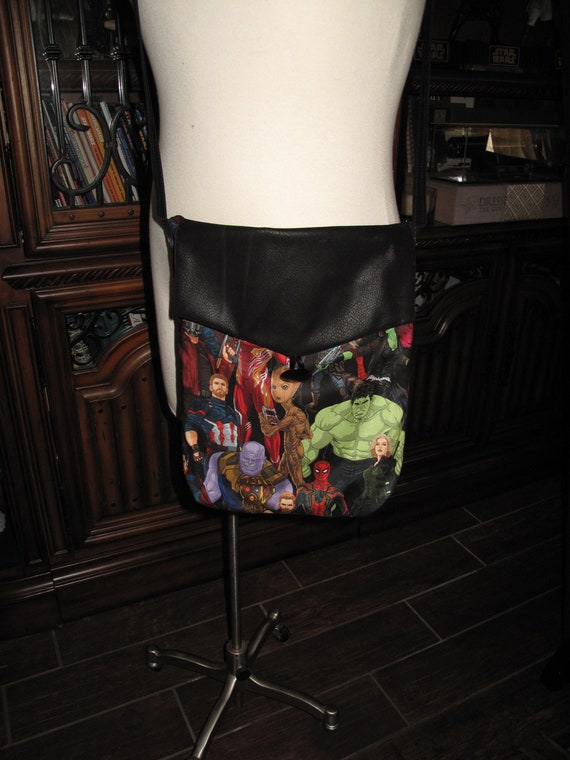 Avengers Infinity War print cotton unisex shoulder bag or crossbody bag size 14x11x3