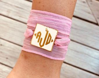 Monogrammed Ribbon Wrap Bracelet Necklace