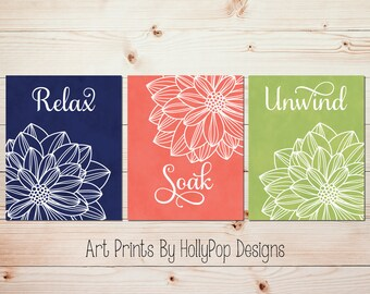 Modern bathroom wall art Relax Soak Unwind Navy coral green bathroom art Flower wall art Dahlia bathroom prints Bathroom quote print #1670