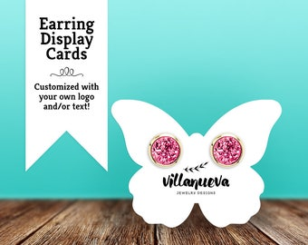 "Custom Earring Cards | Jewelry Display Cards | Stud Earring Cards | Butterfly | Set of 60 3x2.25"" Earring Cards"