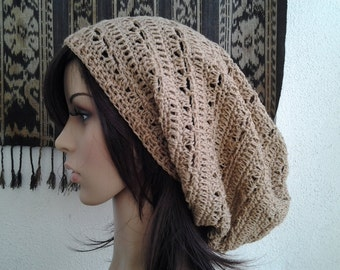 Handmade Crochet Long Rasta Tam Slouch - Hummus LRT91 - made to order