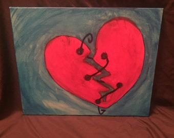 Broken heart canvas, broken hearted, heartbreak, wall art, home decor, blue