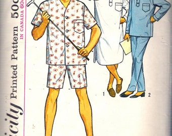 "Vintage 1963 Simplicity 5039 Men's Pajamas in Two Lengths & Nightshirt Size Medium Chest 38"" - 40"""